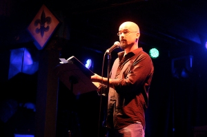 Bill Loehfelm onstage at Tipitina's, at the first Peauxdunque Yeah You Write event in 2011