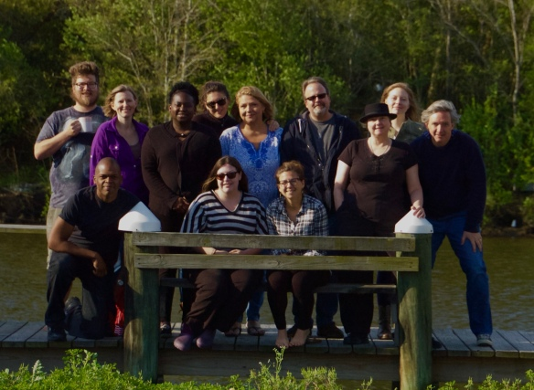 Andrew Kooy and Tad Bartlett on either side of the group at Peauxdunque's 2016 Writers' Camp in Hopedale, Louisiana. Left-to-right: Andrew Kooy, Maurice Carlos Ruffin, Susan Bennett Vallee, Denise Moore, Cassie Pruyn, Emilie Staat, Terri Shrum, Emily Capdeville, J.Ed. Marston, Susan Kagan, Emily Choate, and Tad Bartlett.