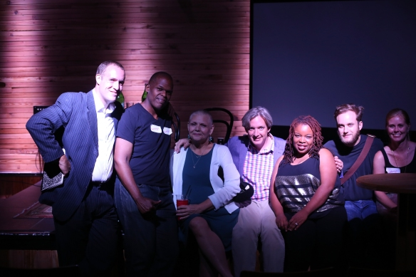 After the show: Nick Fox, Maurice Carlos Ruffin, Terri Shrum, Tad Bartlett, Kelly Harris, Nicholas Mainieri, and April Blevins Pejic. Photo by L. Kasimu Harris.